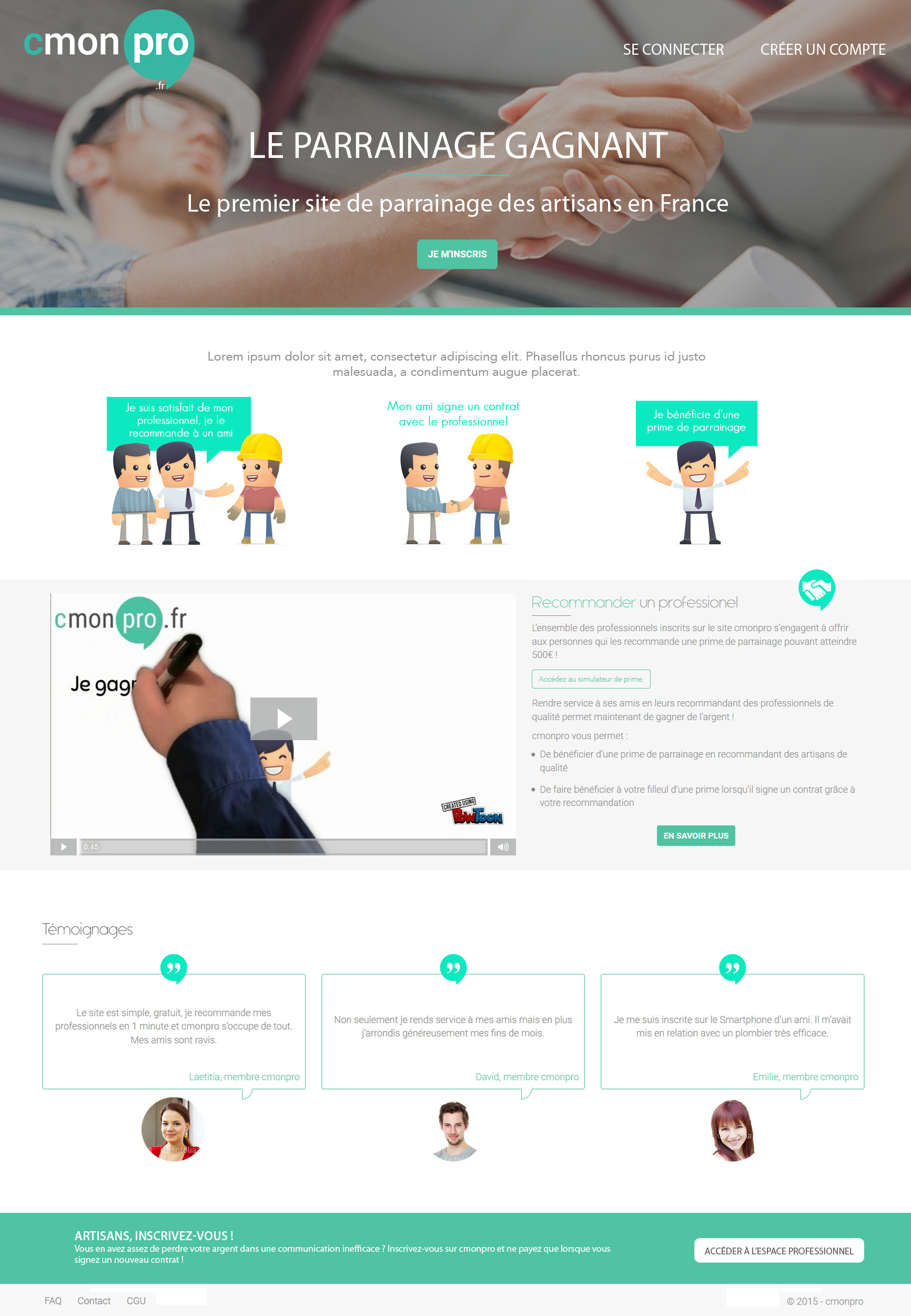 cmonpro – Maquette homepage