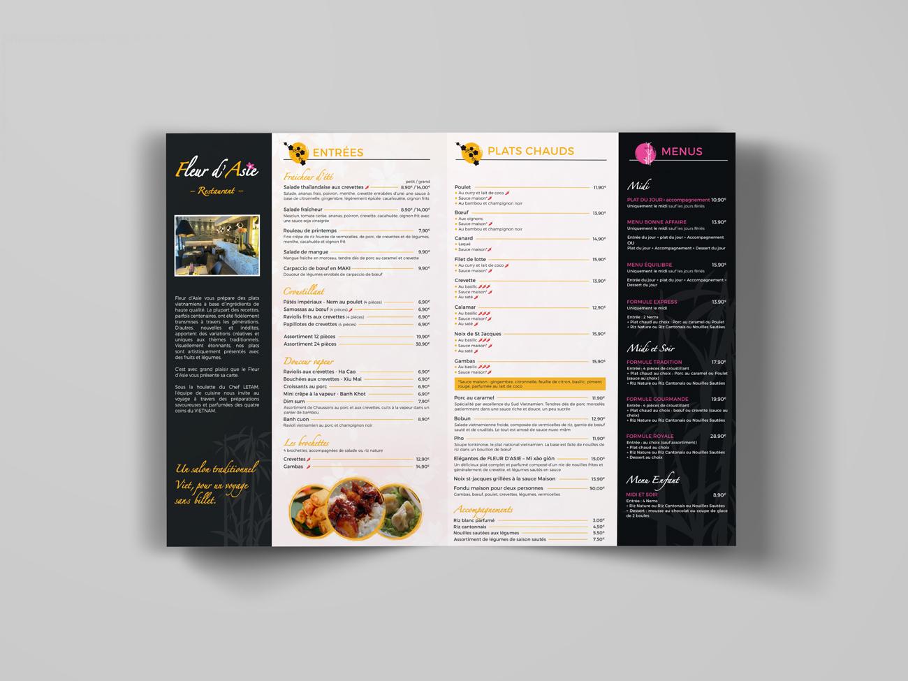 Fleur d'Asie – menu restaurant verso