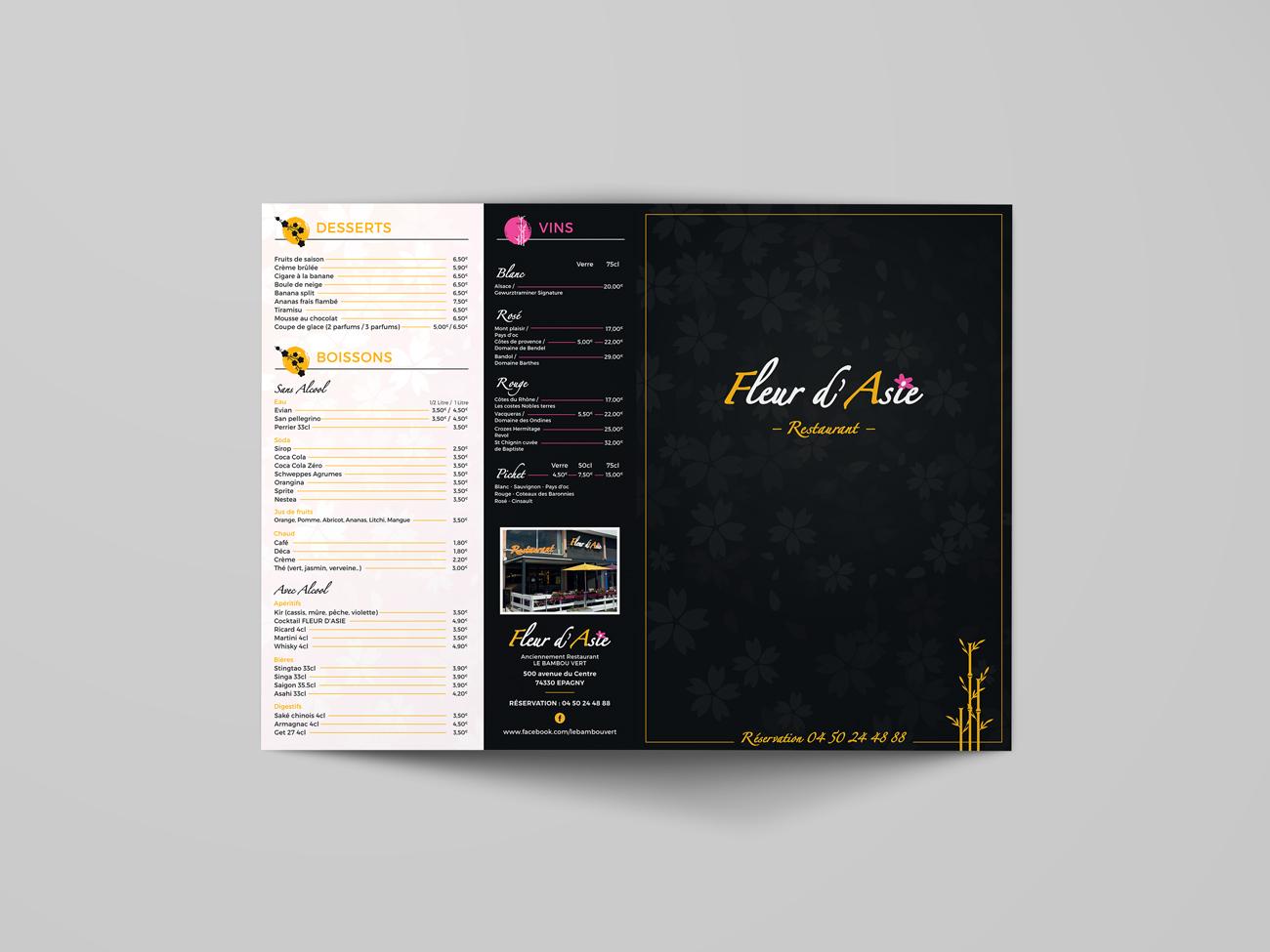 Fleur d'Asie – menu restaurant recto