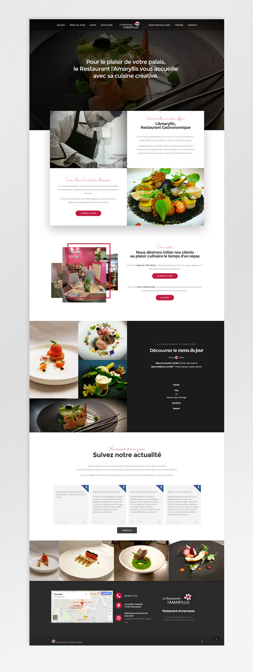 Restaurant L'Amaryllis – website homepage
